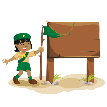 African girl scout and sign– stock illustration.