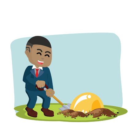African businessman digging bulb– stock illustration. 向量圖像