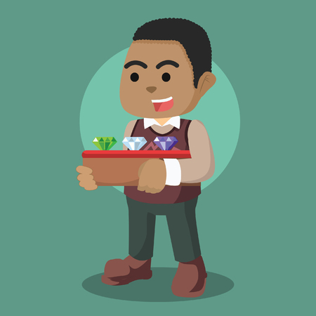 African jeweler holding a box of jewel– stock illustration
