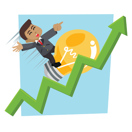 Businessman with bulb rising graphic– stock illustration.
