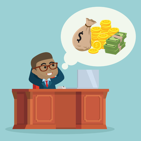 businessman thinking about money– stock illustration