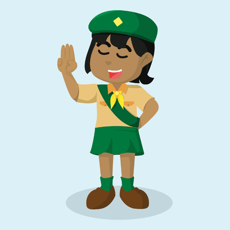African girl scout salute stock illustration.