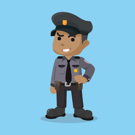 African police officer character stock illustration.