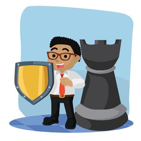 African businessman with shield and rook chess piece– stock illustration
