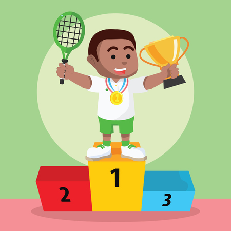 African boy tennis player won the medal and trophy– stock illustration.