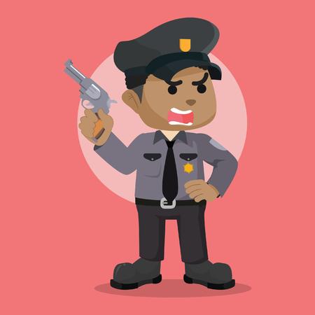 African police officer holding gun stock illustration.