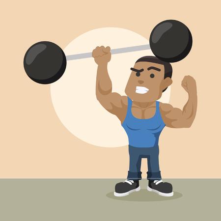 Afrikanischer Bodybuilder, der riesige Dummkopf mit einer Hand? Vorratabbildung anhebt Standard-Bild - 92921360