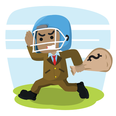African businessman with football helmet carry money sack– stock illustration