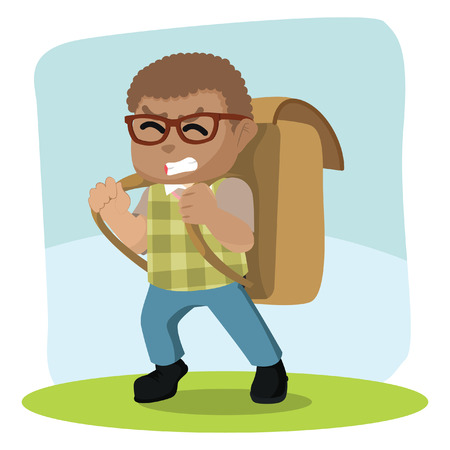African boy carrying giant bag pack– stock illustration