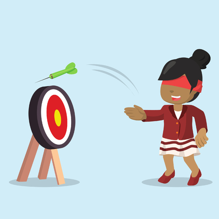 African businesswoman missed the target with eye closed– stock illustration