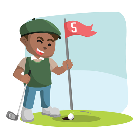African golf player letting his ball entering hole– stock illustration.