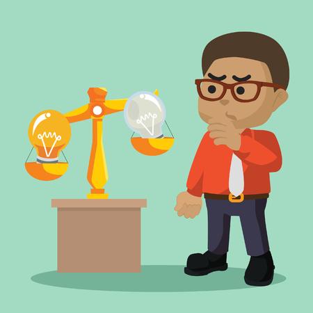 African businessman scaling idea bulb– stock illustration 向量圖像