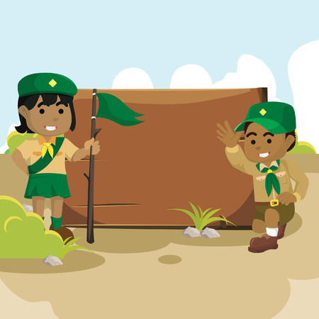 African scout boy and girl with sign board– stock illustration