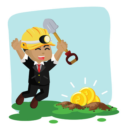 African businessman found gold when digging– stock illustration Ilustração