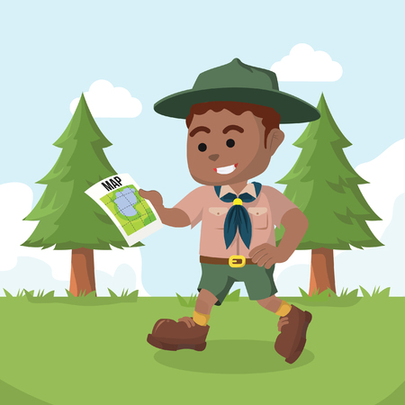 African boy scout walking with map– stock illustration