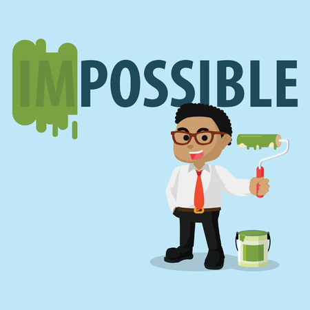 African businessman repainting impossible word– stock illustration Illustration