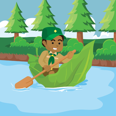 African boy scout adventure– stock illustration