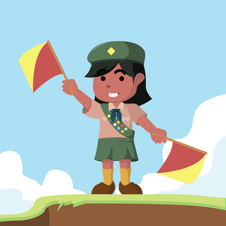 African scout girl playing semaphore– stock illustration Illustration