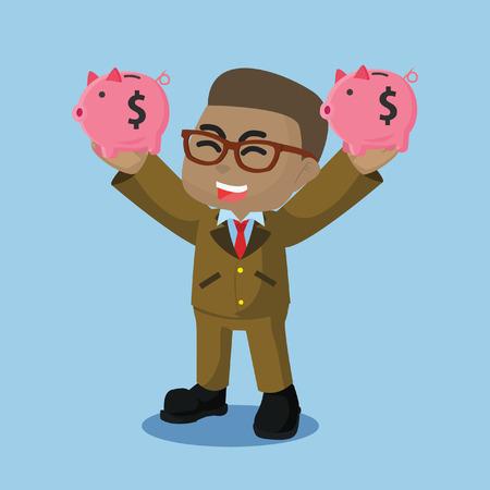 African businessman holding two piggy bank– stock illustration Illustration