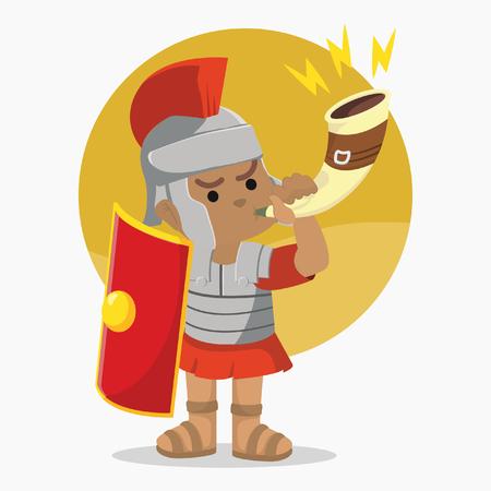 African roman soldier blow war horn– stock illustration