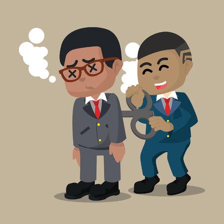 Hombre de negocios africano que ayuda a su amigo - ilustración común