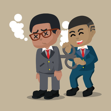 African businessman helping his friend– stock illustration