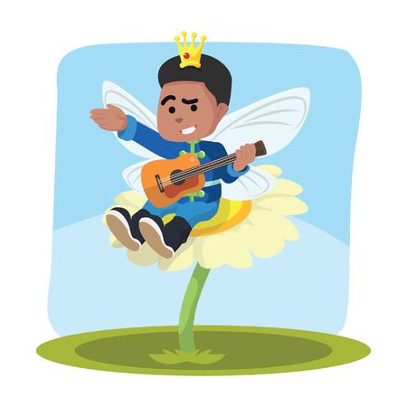 アフリカの妖精の王子が花の上でギターを弾く」ストックイラスト。