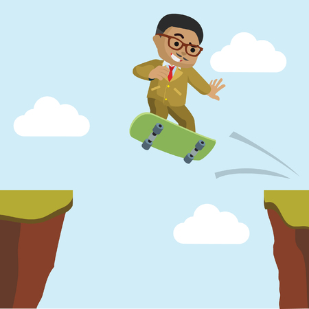African businessman crossing the cliff with skateboard– stock illustration