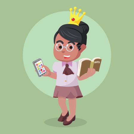 Modern nerd african beauty princess– stock illustration Illustration