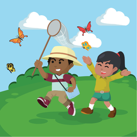 African boy and african girl catching butterflies together– stock illustration Reklamní fotografie - 92877168