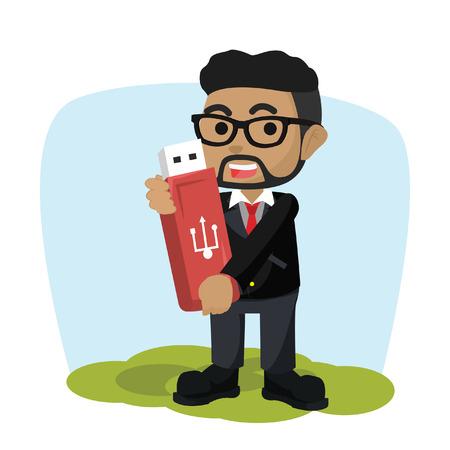 African businessman holding giant flashdisk– stock illustration