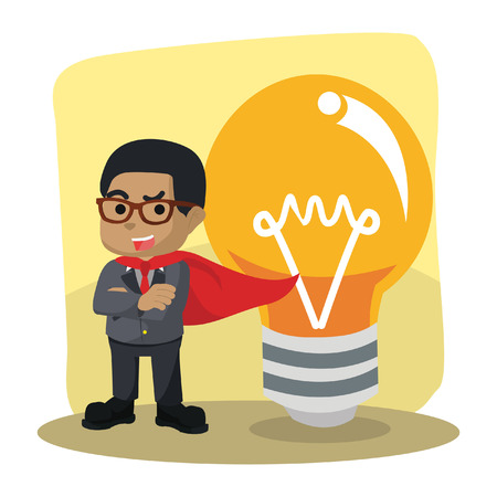 African businessman heroes with big bulb– stock illustration 向量圖像