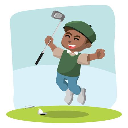 African golf player happy– stock illustration Иллюстрация