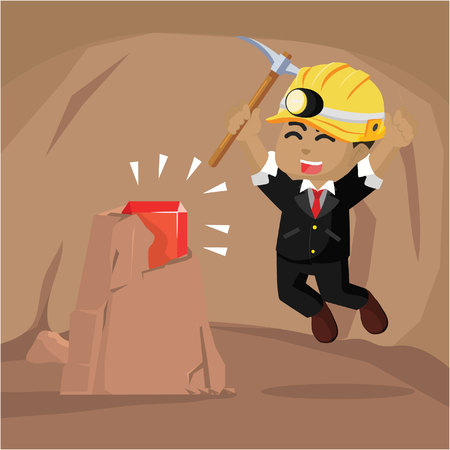 African businessman find a ruby in cave– stock illustration Ilustração