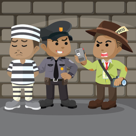 African police interviewed illustration– stock illustration
