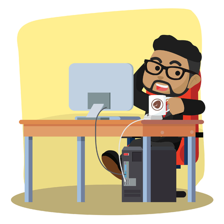 African businessman drinking coffee while working– stock illustration