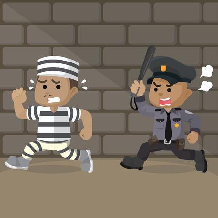 アフリカの警察は、有罪判決をキャッチするために実行しています