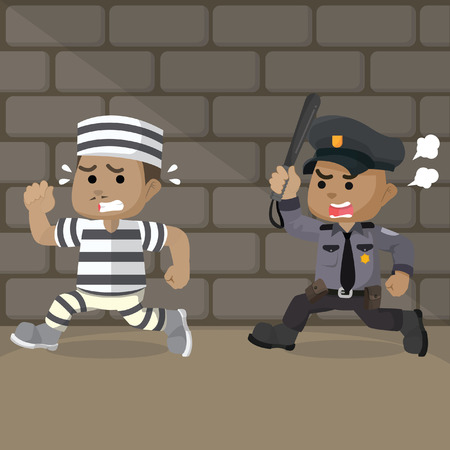 African police running to catch a convict Illustration