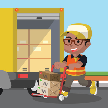 African delivery service loading the package– stock illustration Illustration