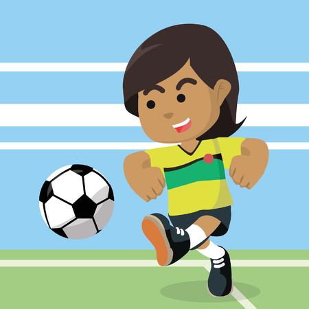 African female soccer player shooting ball– stock illustration