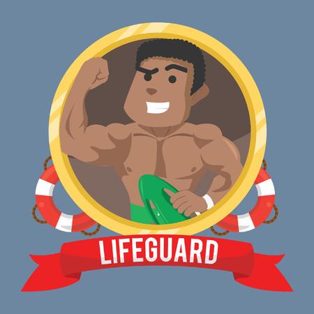 African life guard in emblem– stock illustration