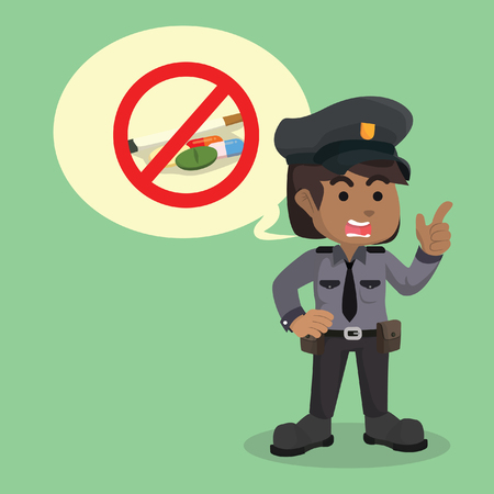 African police woman warning about drugs– stock illustration