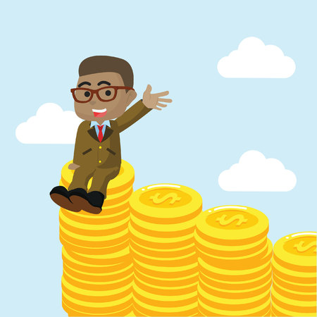African businessman enjoying on stack of coin– stock illustration Çizim