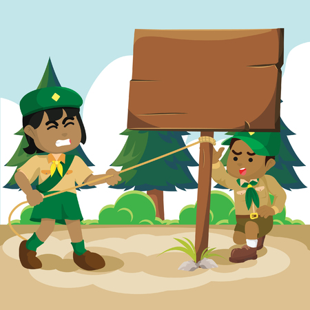 African boy scout and girl put on sign board– stock illustration