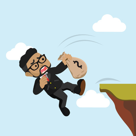 Businessman falling from cliff