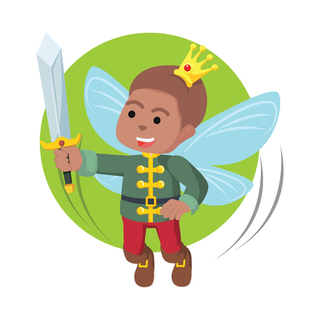 African fairy prince hold his sword– stock illustration Ilustrace