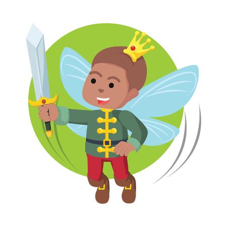 African fairy prince hold his sword– stock illustration Reklamní fotografie - 92851570