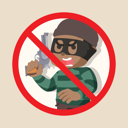 No African thief holding gun illustration design stock illustration.