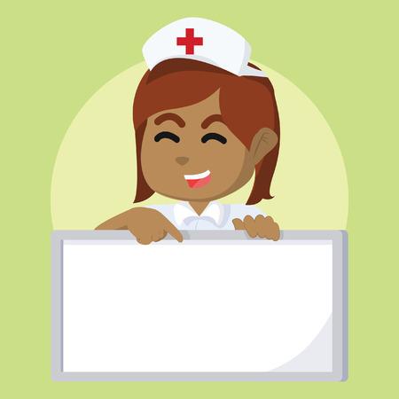 African nurse holding sign– stock illustration. Illustration