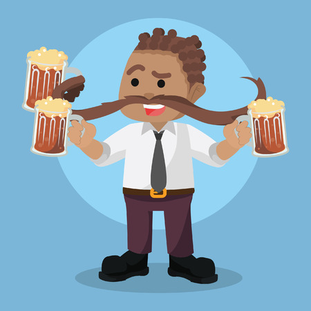 Mustache man holding three beer Illusztráció
